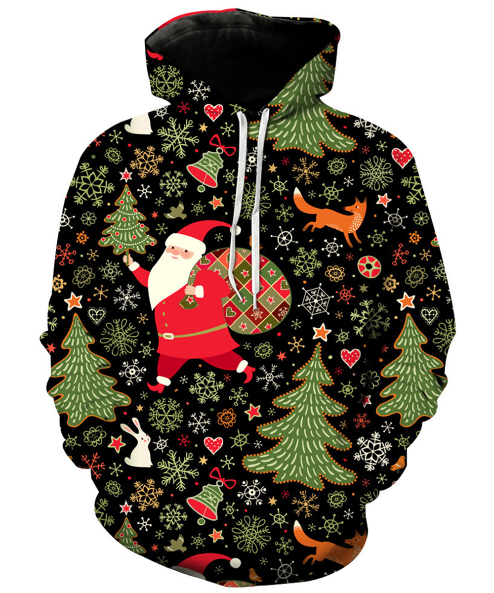 Christmas Fashion 3D Print Hoodies Women Men Sweatshirts Snowman Santa Claus Reindeer Pattern Hooded Pullover Winter Casula Coat