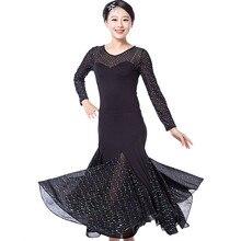 5 colors Splicing Ballroom Dance Dress Women Long Sleeve Waltz/Tango/Jazz Dance Dress Black/white/blue Performance/Practice