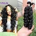 Mario cheveux bresilien 7a onda floja paquetes armadura del pelo 100% human hair weaving 3 unids extensiones brasileñas del pelo envío rápido
