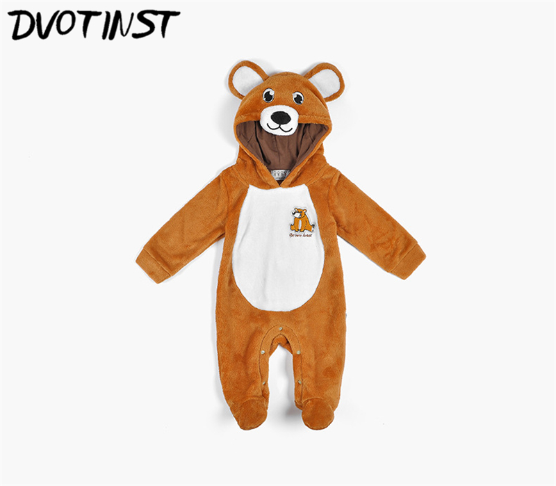 Dvotinst Baby Boys Girls Winter Animals Fannel Bear Rompers Cosplay Halloween Clothes Outfits Infantil Toddler Jumpsuit Costume
