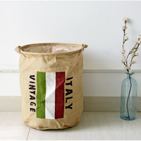 Italy Flag Pattern Storage Basket Cotton Linen Dirty Clothes Washing Laundry Bucket Sundries Organizer Bag