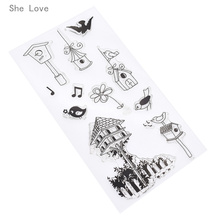 She Love Little Bird House Silicone Clear Stamp Transparent Rubber For Scrapbooking DIY Album Cards Making Decoration