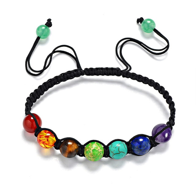 6mm 8mm 10mm Natural Stone Seven Color Rainbow Stone Bracelet Braided rope Beade
