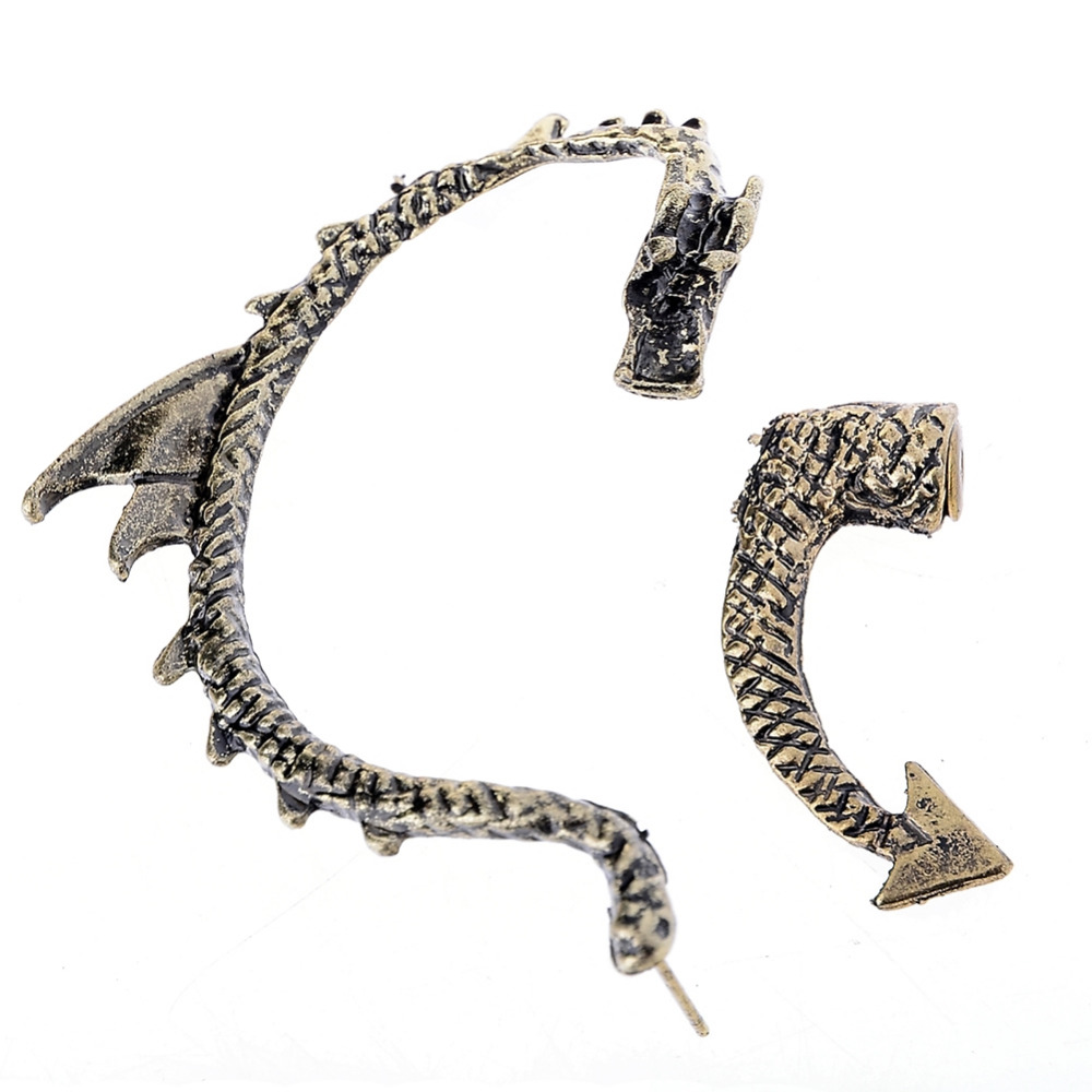 Vintage Gothic Rock Punk Gold Silver Dragon Ear Cuff Earring Wrap Clip On Earrings Drago ...