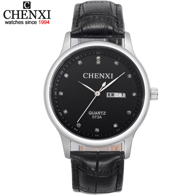 CHENXI Brand Luxury Watch Men Analog Quartz Wristwatches With Black Leather Strap Date Clock Fashion Casual Mens Watches Relojes skmei luxury brand stainless steel strap analog display date moon phase men s quartz watch casual watch waterproof men watches