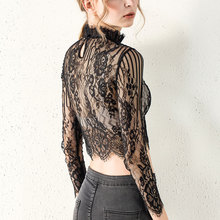 Lace Womens tops and blouses full sleeve turtleneck short length ladies Fashion sexy