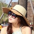 IdeaBee Caliente 2016 Mujeres de Moda Anti-Ultravioleta de Playa Plegable de Protección Facial sombrero de Ala Ancha Dom Sombrero de Paja Protector Solar Sombrero Grande Del Borde Del Visera sombrero