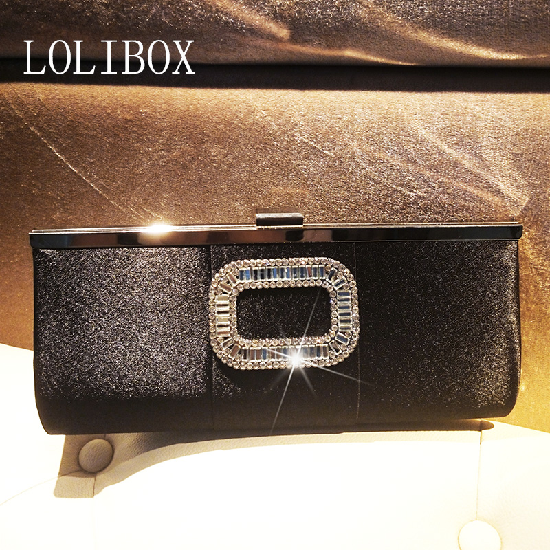 LOLIBOX women messenger bags square diamond satin chain Clutch Ladies Evening Bag for Party Day Clutches bride dress купить в Москве 2019