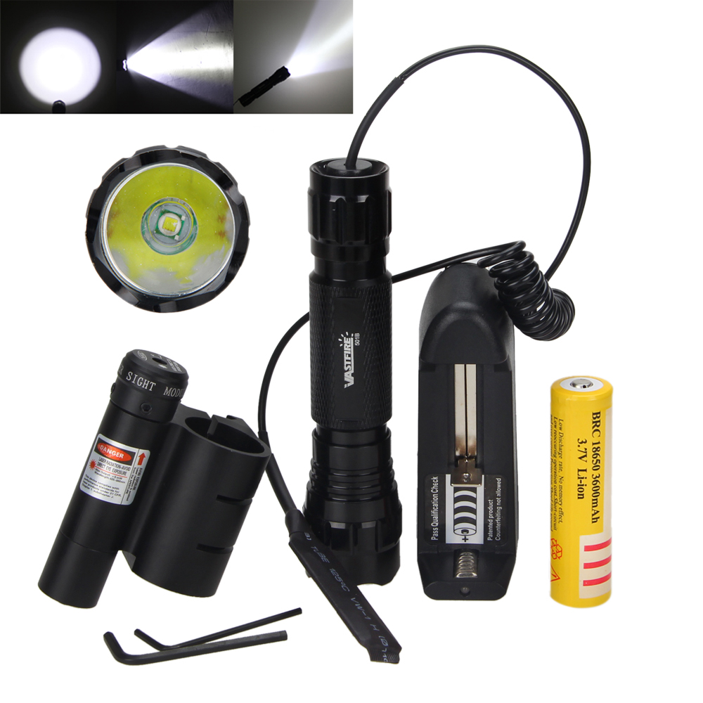 Tactical Light 5000Lm XML T6 LED Military Hunting Flashlight Led Light Torch +18650 Battery+Charger + Red Laser Mount hot sale 3x cree xml t6 led headlamp bike light 5000 lumen 18650 led head light 4x18650 battery pack charger bike rear light