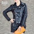 Negro chaquetas de cuero genuinos de las mujeres de piel de oveja de la motocicleta chaqueta chaquetas de mujer cuero verdadero pour femme veste cuir LT004