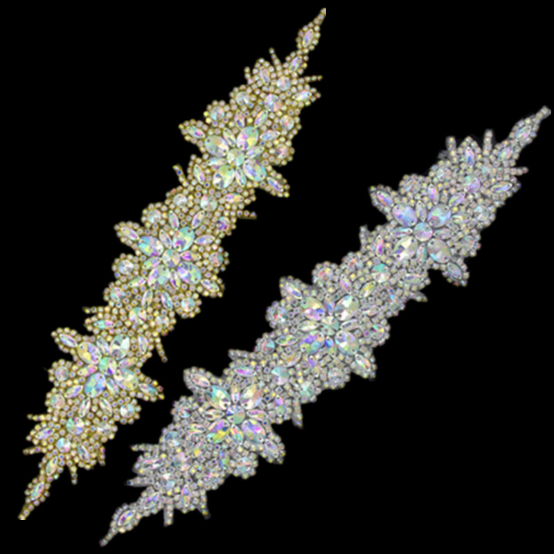 Flower Gold Silver Silver AB Rhinestone Appliques Հարսանյաց զգեստ Sash Headband Costumes Trimmings Iron on DIY Crafts 16.1x3.5 Inches