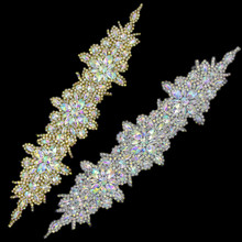 Flower Gold Silver AB Rhinestone Appliques Wedding Dress Sash Headband Costumes Trimmings Iron On DIY Crafts 16.1x3.5 Inches