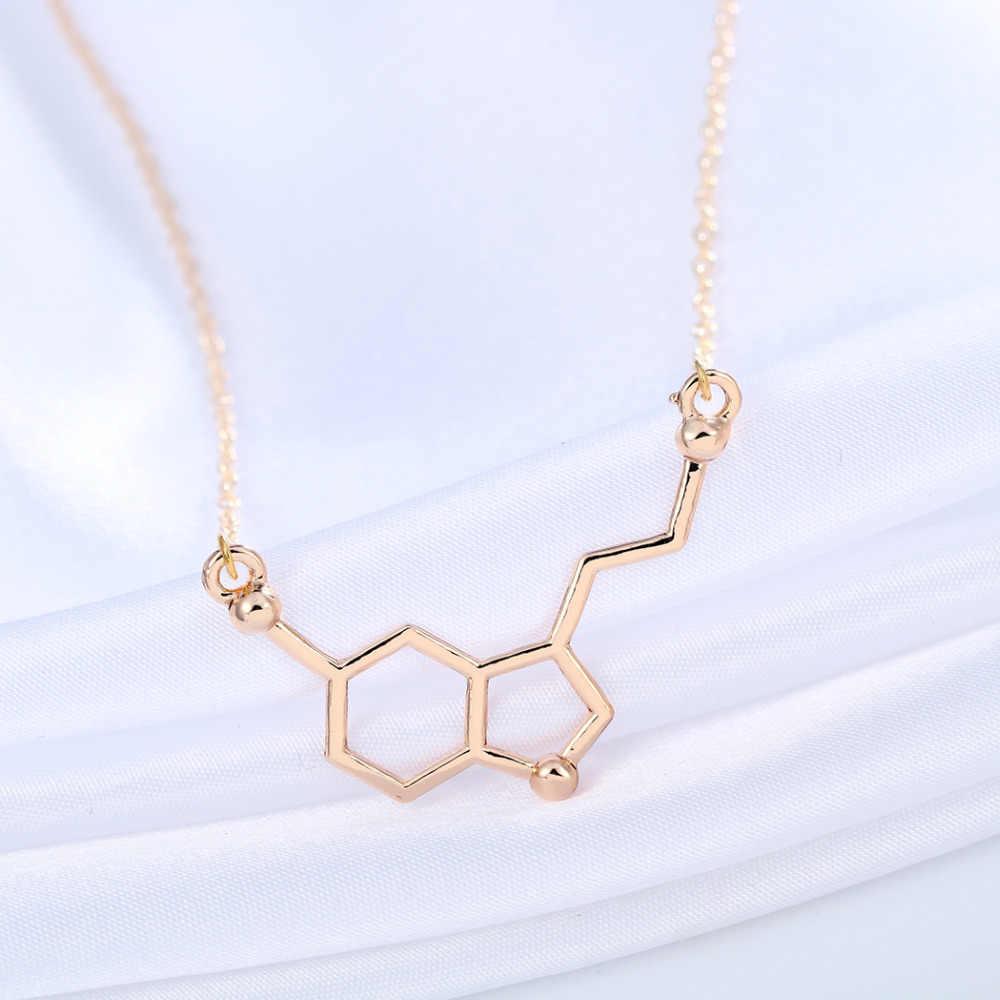 Cxwind جديد جزيء السيروتونين الكيمياء قلادة فريدة قلادة قلادة الحد الأدنى جزيئات 5-ht مجوهرات هدية للسيدات الفتيات