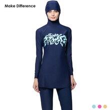 Hacer La Diferencia de Impresión traje de Baño Modesto Burkinis Plus Tamaño Traje de Baño Musulmán Cubierta Completa Hajib Musulmán del traje de Baño traje de Baño Islámico