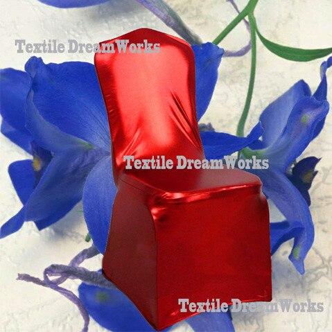 50 шт. блестящий серебристый металлик двусторонней спандекс Чехлы для стульев/лайкра Чехлы для стульев для Свадебные украшения - Цвет: Red