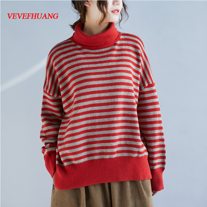 VEVEFHUANG Autumn Winter New Women's Loose Casual Side Slit Turtleneck Striped Sweater Female Lady Knitting Pullovers Plus Size