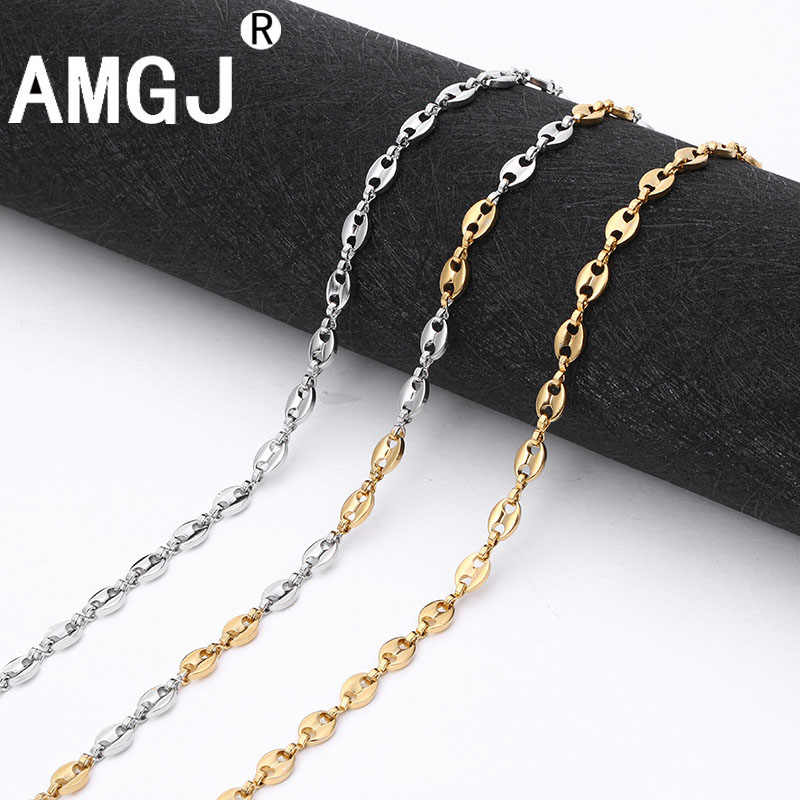 AMGJ Stainless Steel Necklace Chain for Mens Womens Coffee Beans Link Chain Necklace 3~7mm Width Fashion Accessories