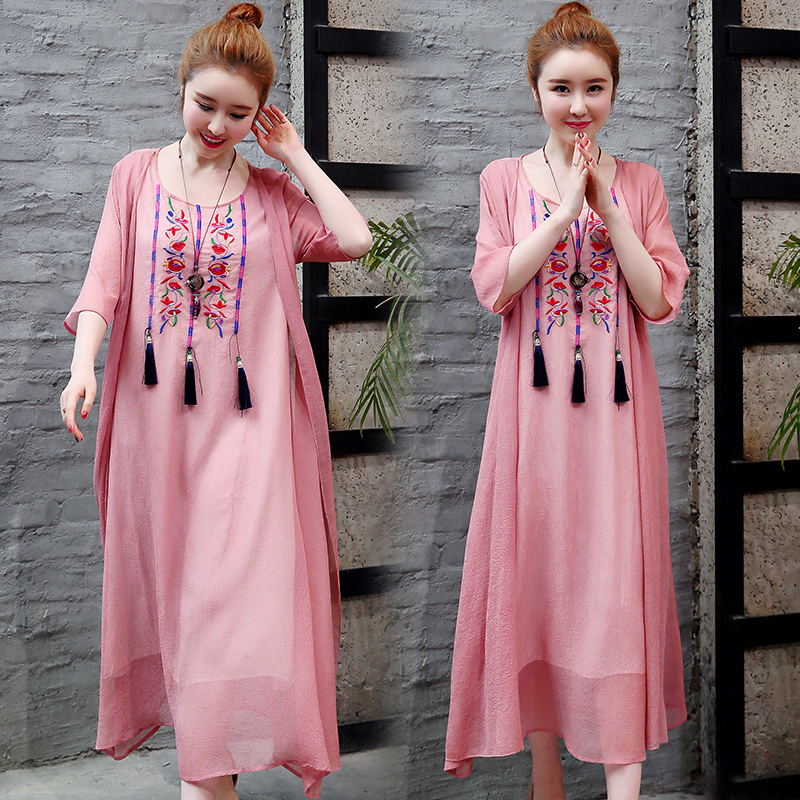 2019 New Cotton Linen Casual 2 Pieces Women Dresses Slim Sleeveless Dress And Cardigan Summer Embroidery Chinese Style Dress 3