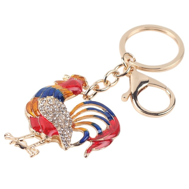 Chicken Rooster Cock Key Chain Key Ring Pom