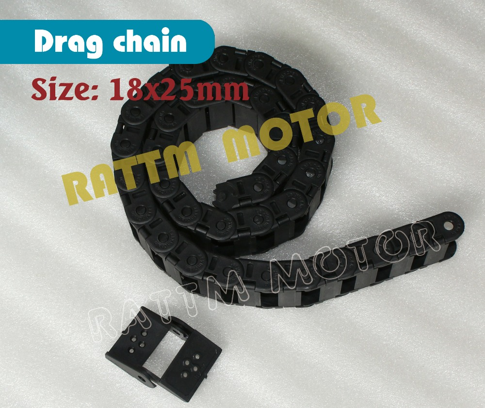2M 18 x 25mm Cable drag chain wire carrier with end connectors plastic towline for CNC Router Machine Tool 1000mm half seal open