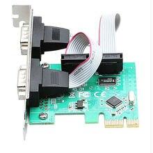 PCI-E PCI Express Dual Последовательный DB9 RS232 2 Портов Контроллера Адаптер Зеленая Карта WCH382L Chipest