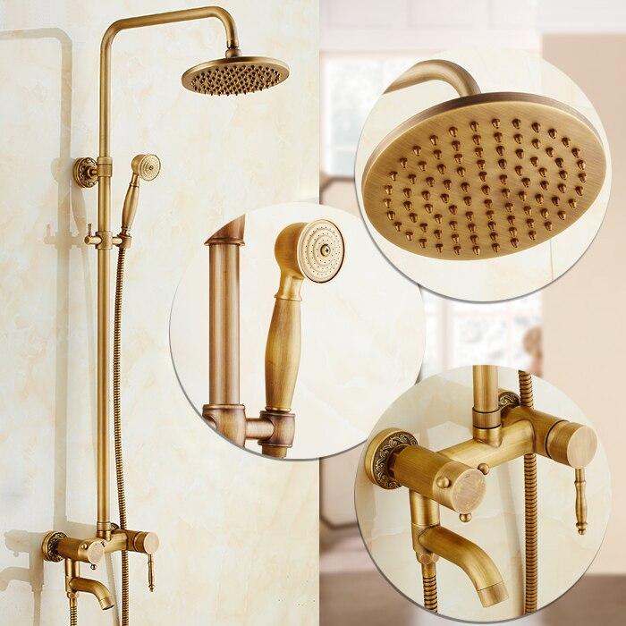 Robinets de douche système de douche Antique luxe en laiton pluie gicleur pomme de douche salle de bains ensemble de douche mélangeur d'eau grue XE-8811