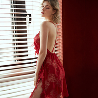Sexy Lingerie Nightgown Underwear Lace Embroidery Seduction Women Nightwear Sling Back Cross Night Dress 5