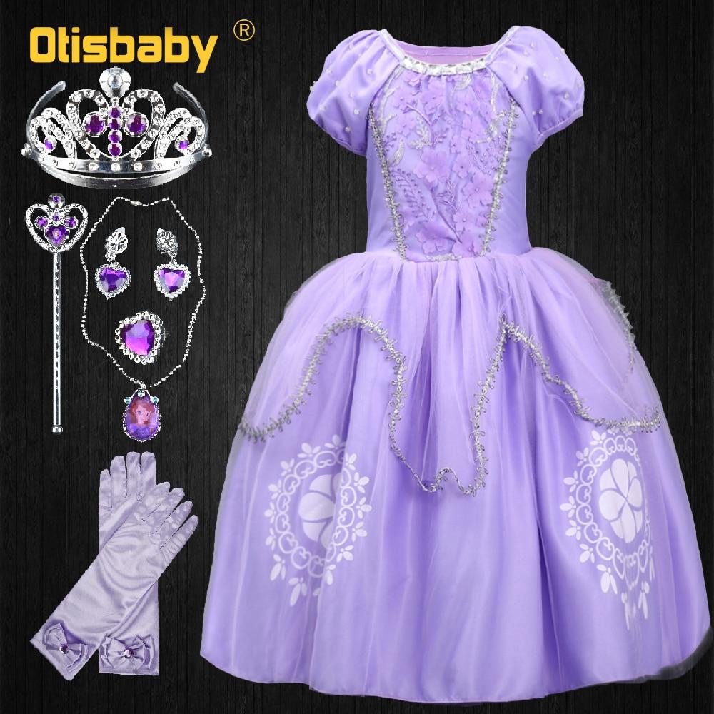 US $6.4 21% OFF Summer Girls Princess Rapunzel Dress Costume Children Deluxe Tangled Dress Up Kids Flower Crystal Ball Tulle Gowns Sofia Dress in