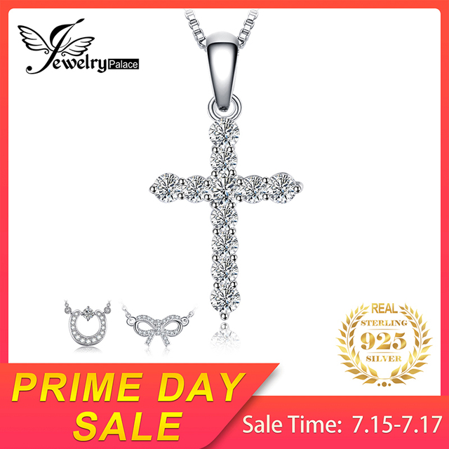 JewelryPalace Cubic Zirconia Chữ Thập Mặt Dây Chuyền Vòng Cổ 925 Sterling Bạc Trang Sức Thời Trang Mặt Dây Chuyền Món Quà Không Bao Gồm một Chuỗi