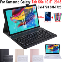 Case for Samsung Galaxy Tab S5e 10.5 Keyboard Case T720 T725 SM T720 Cover Slim Removable Bluetooth Keyboard Funda + Pen + Film