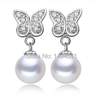 Naturel 11-12 MM blanc pièce D/'eau Douce Pearl 925 Argent Dangle Earrings