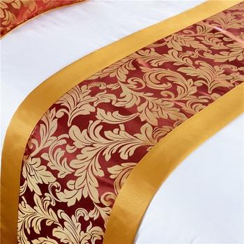 Ȋ�柄のベッドカバーベッドランナースロー寝具ベッド底布カバータオルホームホテルのリビングルームの装飾ゴールドエッジ布クラフト