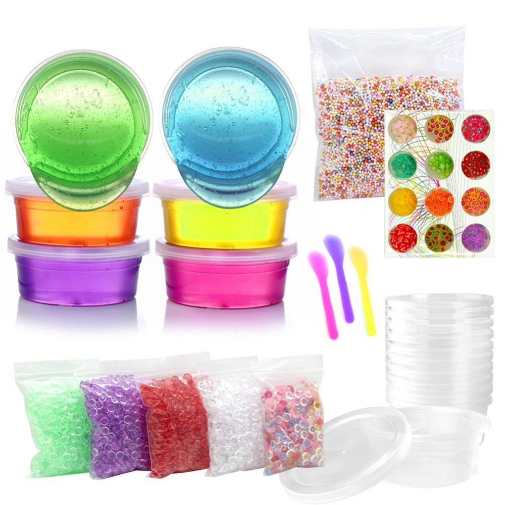 DIY Crystal Slime Kit 6 Crystal Clay Mud,1 Pack Colorful Foam Balls,12 Fruit Face Decoration,Slime Tools,5 Pack Fishbowl Beads 6 pack face