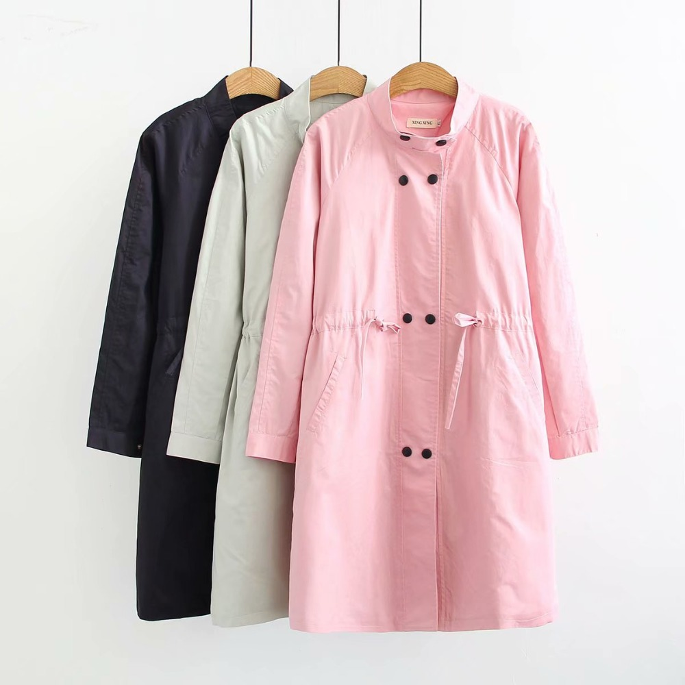 Plus size stand collar cotton women   Trench   2018 office lady double breasted Adjustable Waist solid black pink long coat female