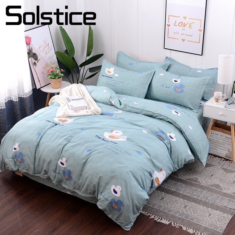 Solstice Home Textile Duvet Cover Flat Sheet Pillow Case Kid Teen Boy Girls Bedding Set Blue Duck Cartoon Bed Linens Twin SingleSolstice Home Textile Duvet Cover Flat Sheet Pillow Case Kid Teen Boy Girls Bedding Set Blue Duck Cartoon Bed Linens Twin Single