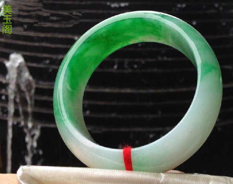ของแท้หนารุ่นกว้างของธรรมชาติพม่าหยกสินค้าzhengยางสีเขียวหยกดอกไม้สร้อยข้อมือสีขาวสีเขียว