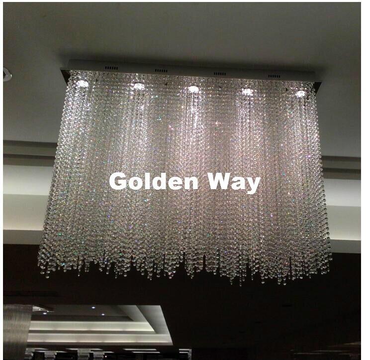 Modern European L80cm W30cm GU10 AC Crystal Pendant Modern Living Room Kroonluchter Lamparas De Cristal LED Pendant Lighting