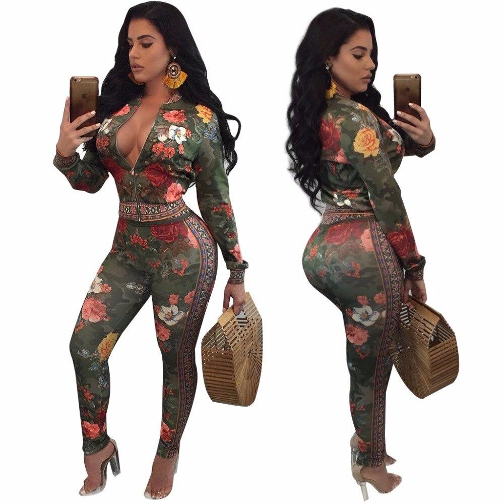 8ca74507986b Floral duas peças set 2019 Moda Primavera casaul agasalho roupas femininas  Plus Size