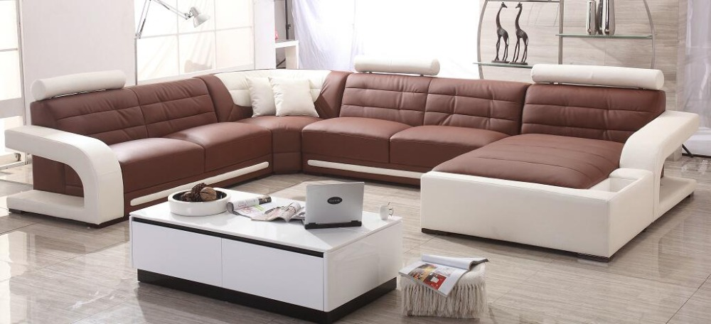 real leather sofa sectional living room sofa corner home furniture ...