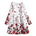 Niñas Vestido de Manga Larga Vestidos de Las Muchachas del Otoño 2016 de Los Niños de Rose Imprimió el Vestido Niños Retro Traje Adolescente Niñas Vestidos Ropa