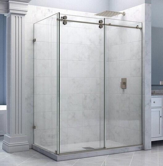 DIYHD 5FT/6.6FT Stainless Steel Twin Roller Shower Door Frameless Sliding Shower Door Hardware With 90 Degree Return Panel ft f905