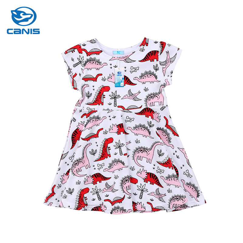 Kids Baby Girls Clothing Animal Cartoon Dinosaur Printed Short Sleeve Dress Clothes Casual Outfits Summer 1-6T baby kids baseball season clothes baby girls love baseball clothing girls summer boutique baseball outfits with accessories