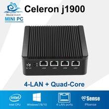 Дешевый Celeron J1900 Мини-ПК мини-компьютер 4 ГБ Оперативная память 128 ГБ SSD MiniPC Настольный HTPC 4 LAN ТВ коробка без вентилятора ПК