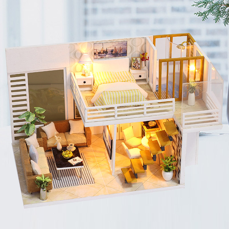 New Furniture DIY Doll House Wooden Miniature Doll Houses Furniture Kit Assemble Modern Apartments Dollhouse Toys for Gift k31