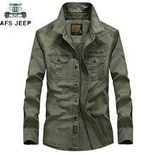 AFS JEEP брендовая Военная армейская Мужская рубашка весна осень хлопок с длинным рукавом мужские рубашки размера плюс S-4XL Camisa Masculina