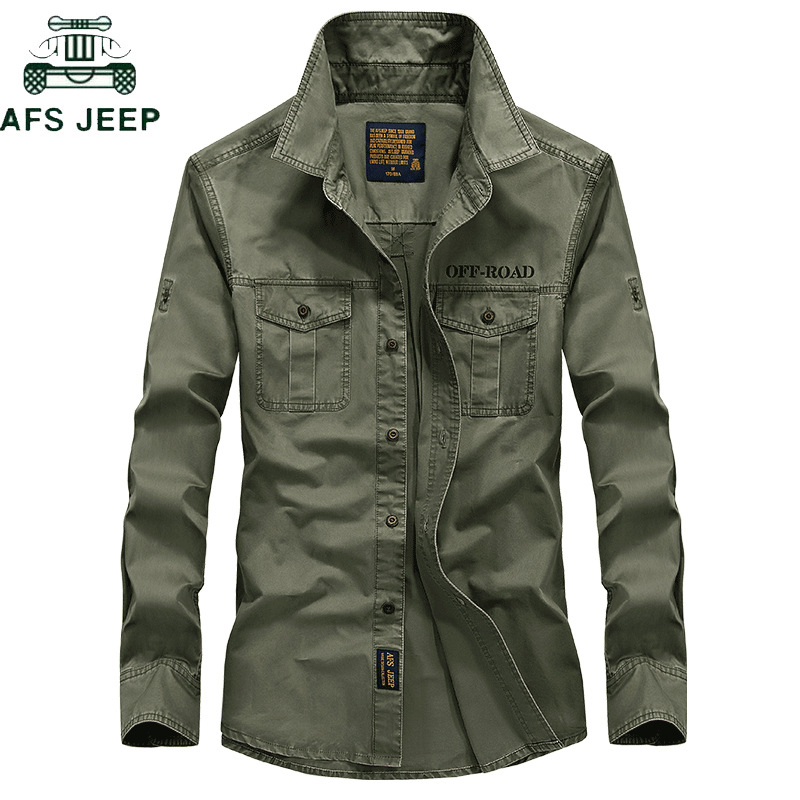 AFS JEEP Brand Military Army Shirt Men 2018 Spring Autumn 100% Cotton Long Sleeve Mens Shirts Plus Size S-4XL Camisa Masculina
