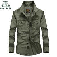 AFS JEEP Marke Military Armee Shirt Männer 2018 Frühling Herbst 100% baumwolle Langarm Herren Shirts Plus Größe S-4XL Camisa masculina