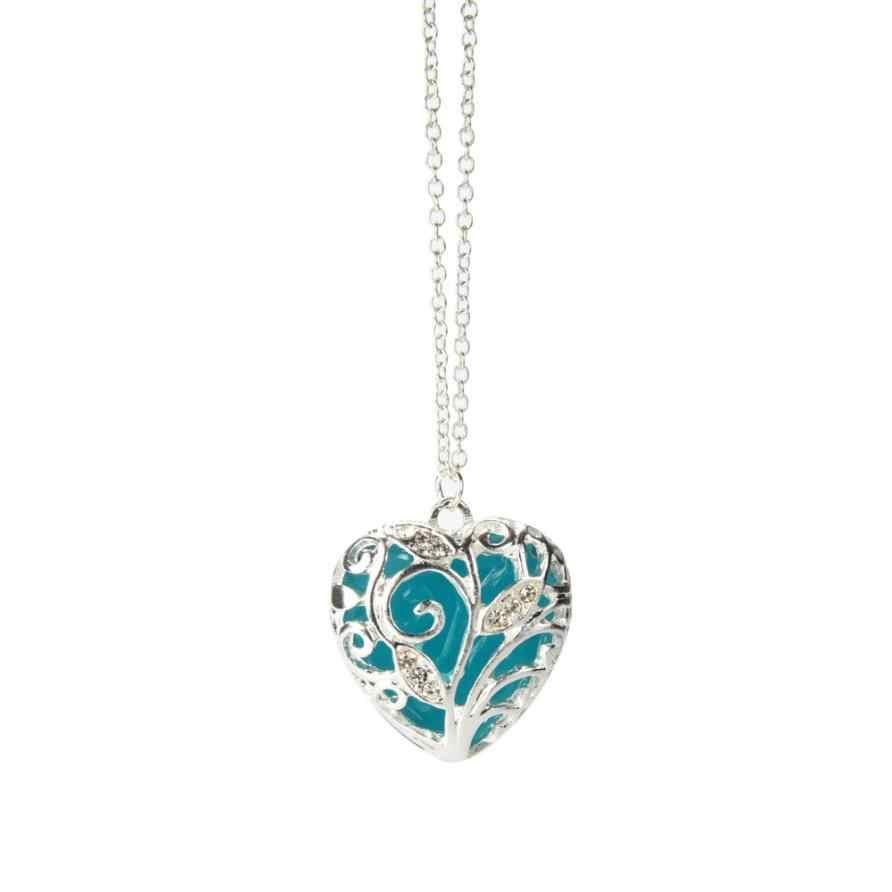 Collar de brillo de Corazón Azul Aqua mágico en la oscuridad colgante collar regalo joyería accesorios gargantilla Torque Trinket