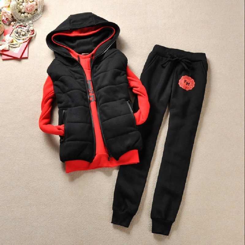 Autumn and winter 3 pieces set new Fashion women suit women's tracksuits casual set with a hood fleece sweatshirt coat+vest+pant