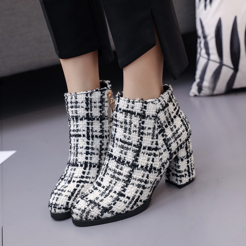 Wool Fabric Plaid Ankle Boots for Women Shoes Pointed Toe Square High Heels 8cm Ladies Boots Botas Mujer Bota Feminina цена
